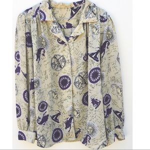 Tops - Vintage XL-2X button up Nautical Mermaid Top